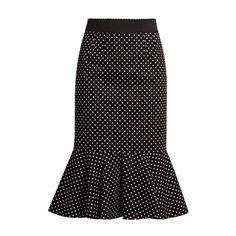 Dolce & Gabbana Polka-dot print stretch-cotton midi skirt ($895) ❤ liked on Polyvore featuring skirts, black white, black and white midi skirt, black and white polka dot skirt, pin skirt, dolce gabbana skirt and white and black polka dot skirt