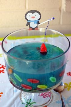 Penguin Jello - Sprite, Blue Food Coloring, Candy Fish (don't add fish too soon)