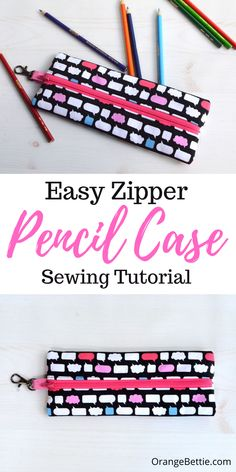 How to Sew a Pencil Case – Easy Sewing Tutorial - Orange Bettie Diy Sewing Projects, Sewing Tutorials, Sewing Projects For Beginners, Sewing Hacks, Sewing Crafts, Sewing Tips, Sewing Ideas, Diy Crafts, Zipper Pencil Case