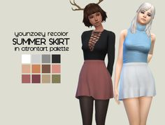 Sims 4 | figsandpersimmons: Younzoey Summer Skirt in citrontart colors #CAS clothing bottom female adult