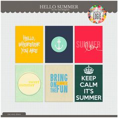 Quality DigiScrap Freebies: Hello Summer journal cards freebie from One Story Down