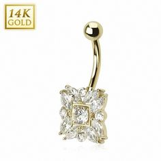 Piercing nombril Or 14 carats marquise