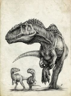 "Mother and baby Carnosaurs.  I feel like this is sooo me when my children need defending.  ""Back off or you'll become a snack!  Mkay?"""