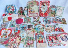 Lot of 28 Valentines Day Cards Mechanical Fold Out German Victorian Old Vintage