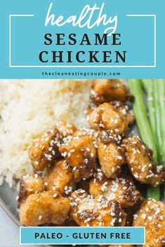 Healthy Sesame Chicken is a delicious, healthy dinner that tastes even better than takeout! Paleo & gluten free, this chicken has a delicious marinade and is perfect for a Friday night. Healthy Sesame Chicken, Healthy Chicken Recipes, Paleo Recipes, Great Recipes, Paleo Meals, Healthy Dinners, Stay Healthy, Healthy Food, Healthy Eating