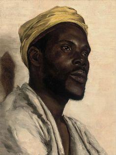 Circle of Edwin Long (British, Portrait of a Moor. Oil on canvas, 16 x 12 in. Portrait Art, Portraits, Goldscheider, Black Art Pictures, Black Artwork, Afro Art, Black Artists, African American Art, Western Art