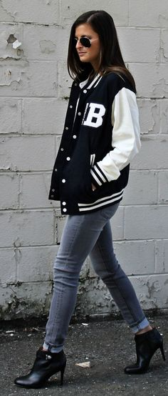 Blogger Tilden B wears a varsity inspired look with letterman