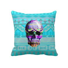 Andes Aztec Skull Teal blue tribal pattern Pillow