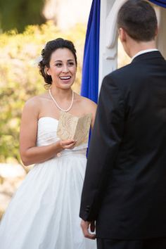 The exchange of wedding vows are when the bride and groom make their sacred promises to each other.