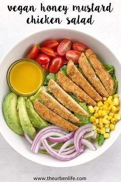 Vegan Honey Mustard Chicken Salad with plant-based tenders, romaine lettuce, tomatoes, red onion, corn, and avocado topped with a creamy homemade dressing (dairy free, egg free, vegetarian) Egg Free Recipes, No Dairy Recipes, Vegan Recipes, Delicious Recipes, Low Carb Brownie Recipe, Brownie Recipes, Vegan Breakfast Recipes, Dinner Recipes, Easy Vegan Dinner