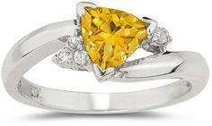 ApplesofGold.com - Trillion-Cut Citrine and Diamond Ring