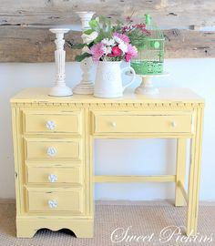 Lemon painted furniture.