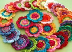 Colorful crocheted flowers...