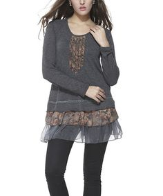 Love this Charcoal Floral Embellished Scoop Neck Tunic on #zulily! #zulilyfinds