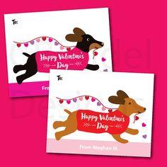 Dachshund Dog Puppy Love Classroom School Valentine's Cards for Kids  by CBendelDesigns