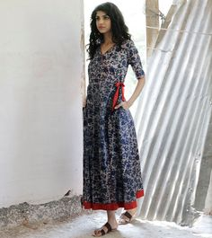 Indigo Floral wrap dress by KharaKapas on Etsy
