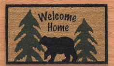This Black Bear door mat welcomes visitors to your cabin, camp or your home! The bear and pine tree design lends a rustic, homey touch to your front porch step!    Made form 70% Coir, 30% Vinyl. Measures 17″ x 29″.  .