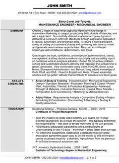 10 Best Best Mechanical Engineer Resume Templates Samples Images - Mechanical-engineering-resume-templates