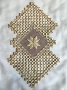 Tan star hardanger by HardangerOriginals on Etsy Types Of Embroidery, Learn Embroidery, Embroidery For Beginners, Embroidery Techniques, Hardanger Embroidery, Embroidery Stitches, Embroidery Patterns, Floral Embroidery, Crochet Doily Patterns