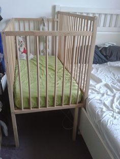 A co-sleeper is a baby bed that attaches to one side of an adult bed. It allows baby to remain close to the parents at night without actually being in the adult bed (which can be dangerous sometime… Ikea Co, Baby Co Sleeper, Family Bed, Bed Mattress, Baby Registry, Other Rooms, Baby Cribs, Baby Photos, Bassinet