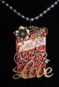 Dog Tag Necklace ....Dream Love and peace by Forever peace
