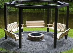 """Swinging Bench Fire Pit Project- Now that's a Gathering place! I love this, what do you think?  Materials needed:   6- Bags of Sacreete (or Quickcreete - whatever you call it) one for each upright.  6- 6x6x10's (for the uprights)  6- 6x6x8's for the top sections  6- 2x6x8's for the stabilizers that go kitty corner on top of 6x6's (for strength)  24- 3/8's x 8"""" lags for laggin the top horizontal pieces to the uprights (countersunk)  24- 4"""" Deck screws for screwing the top pieces together ..."""