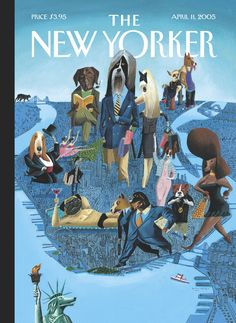 """The New Yorker - Monday, April 11, 2005 - Issue # 4116 - Vol. 81 - N° 8 - Cover """"City Dogs"""" by Mark Ulriksen"""