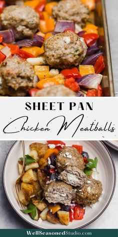 This is not your traditional chicken meatball recipe. Filled with tangy goat cheese, then seasoned with lemony za'atar and sumac, these sheet pan chicken meatballs are juicy, tender, and full of flavor. Best of all? No standing over a stove top to cook them! #meatballs #sheetpanmeatballs #chickenmeatballs #delicious @wellseasonedstudio | wellseasonedstudio.com Chicken Meatball Recipes, Chicken Meatballs, Healthy Chicken Dinner, Thing 1, Well Seasoned, Yum Yum Chicken, Goat Cheese, Main Meals, Sheet Pan