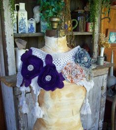 SOLD - Upcycled Victorian Inspired Neck Piece Collar Shrug by louzart, $32.00