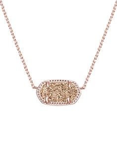 Elisa Pendant Necklace in Rose Gold Drusy - Kendra Scott Jewelry