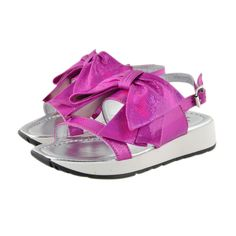 Kids Cavern - Andrea Montelpare Pink Glitter Bow Sandals - Armani Junior, D&G, Childrens Clothing, Designer clothes, fashion, Kids Cavern, D and G, Kids Clothing
