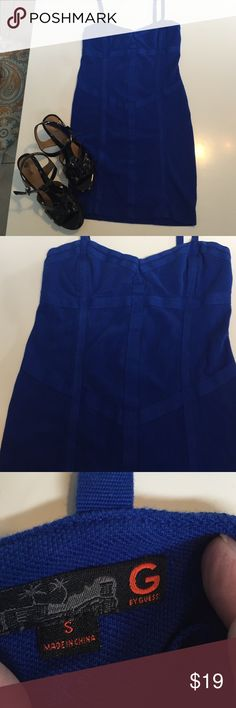 Guess, Beautiful blue bandage dress G by Guess, Sz small, blue bandage dress, zip up back, adjustable straps. Back length 24in. Guess Dresses Mini