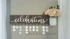 Family Birthday Board, Celebration Board, Birthday Calendar, Family Celebrations, Brown Stained Distressed and White Wall Hanging Brown Stained Distressed with White Vinyl by MakeitStickDesigns Family Birthday Board, Birthday Wall, Birthday Diy, Birthday Gifts, Birthday Reminder Board, Family Birthday Calendar, 20th Birthday, Birthday Celebration, Birthday Wishes