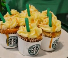 Starbucks caramel frap cupcakes. @Hollie Poston & @Adriane Richardson Carpenter & @Alyssa Parker