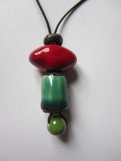 Pendentif sautoir en perles céramique poterie : Pendentif par potyo