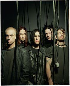 1994 NIN touring band; Chris Vrenna, James Woodley, Trent Reznor, Robin Finck, and Danny Lohner.