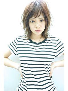 ミディアムウルフヘアアレンジ(女性髪型)2015ミディアムネオウルフ☆ちょこっとバング