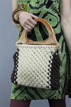 #Vintage #70s Cream + Brown Hippie Boho #Macrame Purse Bag