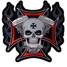 "$6.93 Hot Leathers Cross, Motor And Skull Embroidered Patch (4"" Width x 4"" Height) From Hot Leathers https://www.facebook.com/photo.php?fbid=134709983381560=a.115237391995486.1073741828.115224581996767=1"