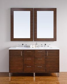 60 inch Walnut Finish Double Sink Bathroom Vanity Optional Countertops. http://www.listvanities.com/modern-bathroom-vanities.html Very clean lines and ample storage make these bathroom vanities a welcome addition to your bathroom. Hand-crafted from North American Birch hardwoods and featuring exotic veneers like Macassar Ebony, American Walnut, the Bathroom Vanity series compliment today modern interiors.