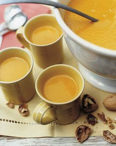 Harvest Pumpkin Soup | Martha Stewart Living - This creamy soup, served in mugs, provides warm and comforting sips for the fall season.
