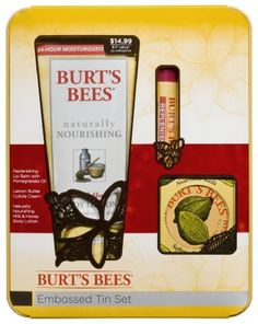 Burt's Bees Embossed Tin Gift Set by Burt's Bees. $14.99. No animal testing-leaping bunny cerified. No parabens, phthlates, or petrochemicals. Contains replenishing pomegranate lip balm, lemon butter cuticle creme 6 ounce and milk and honey body lotion 6 ounce. NPA certified. Give the gift of natural products. Nourish, fortify and replenish your body naturally with the burt's bees embossed tin set.