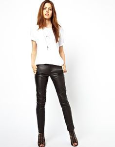 Image 1 of ASOS Skinny Leather Trousers with Biker Detail