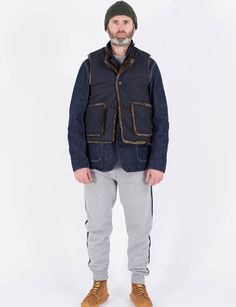 Engineered Garments Dark Navy NyCo Ripstop/Fake Fur Over Vest