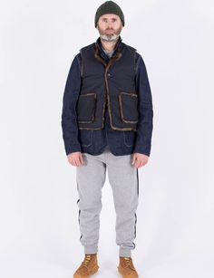 Engineered Garments Dark Navy NyCo Ripstop/Fake Fur Over Vest