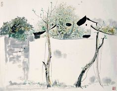 Wu Guanzhong 吴冠中 August 1919 – June a contemporary Chinese painter widely recognized as a founder of modern Chinese painting. Sumi E Painting, Japan Painting, China Painting, Abstract Watercolor, Watercolor And Ink, Art Chinois, Chinese Landscape, Traditional Paintings, Calligraphy Art
