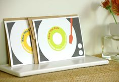 Scratch off Record Player wedding invites.  SO totally cute!