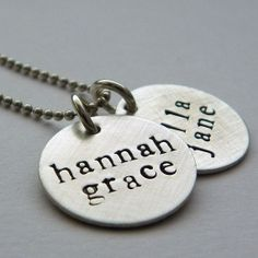 Two Disc Mother's Necklace  hand stamped and by PunkyJane on Etsy, $43.00