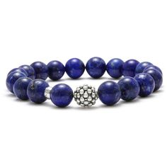 Lagos Lapis Caviar Beaded Bracelet ($160) ❤ liked on Polyvore featuring jewelry, bracelets, blue, blue jewelry, bead jewellery, beaded jewelry, beading jewelry and blue bangles