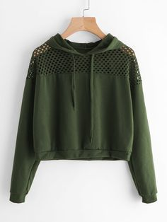 Cheap crop sweatshirt, Buy Quality hoodie pullover directly from China sweatshirt sweatshirt Suppliers: ROMWE Hollow Fishnet Insert Hoodie Pullovers 2017 Army Green Long Sleeve Drawstring Plain Top Female Regular Fit Crop Sweatshirt Teen Fashion Outfits, Hipster Fashion, Trendy Outfits, Girl Fashion, Cool Outfits, Fashion Women, Fast Fashion, Mode Instagram, Crop Top Hoodie